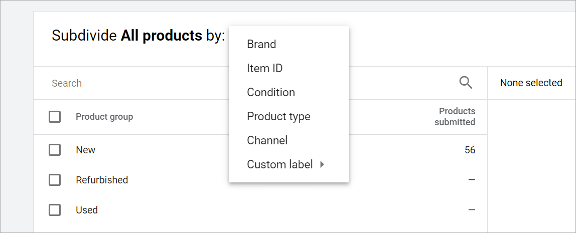 Tipuri de subdivizare produse shopping