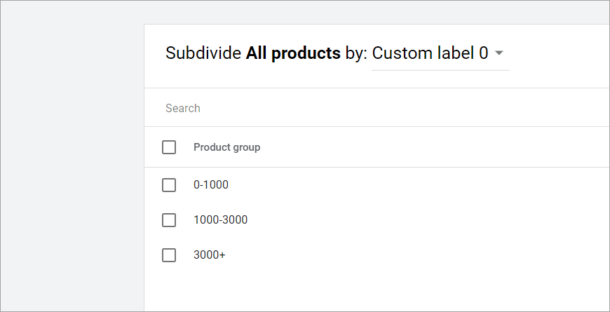 Subdivizare dupa pret custom label