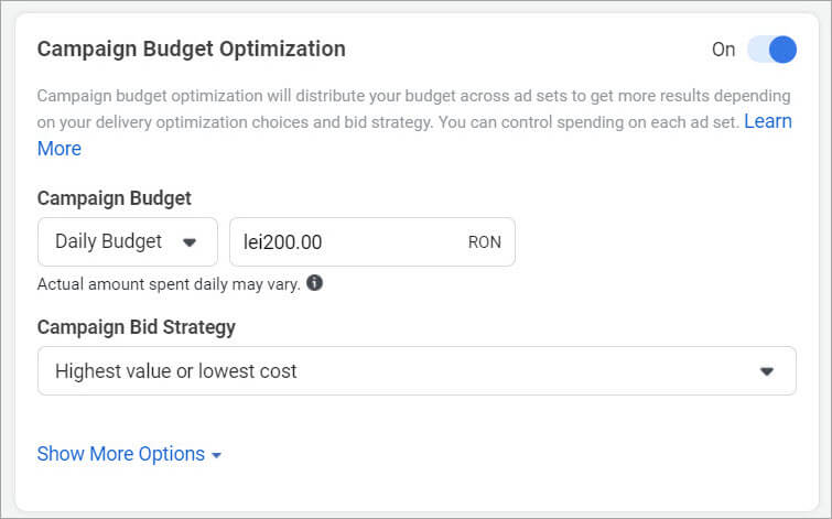 9-Agentie Marketing Online Maximize - articol Boost Post vs. Facebook Ads-Ads-Manager-campaign-budget