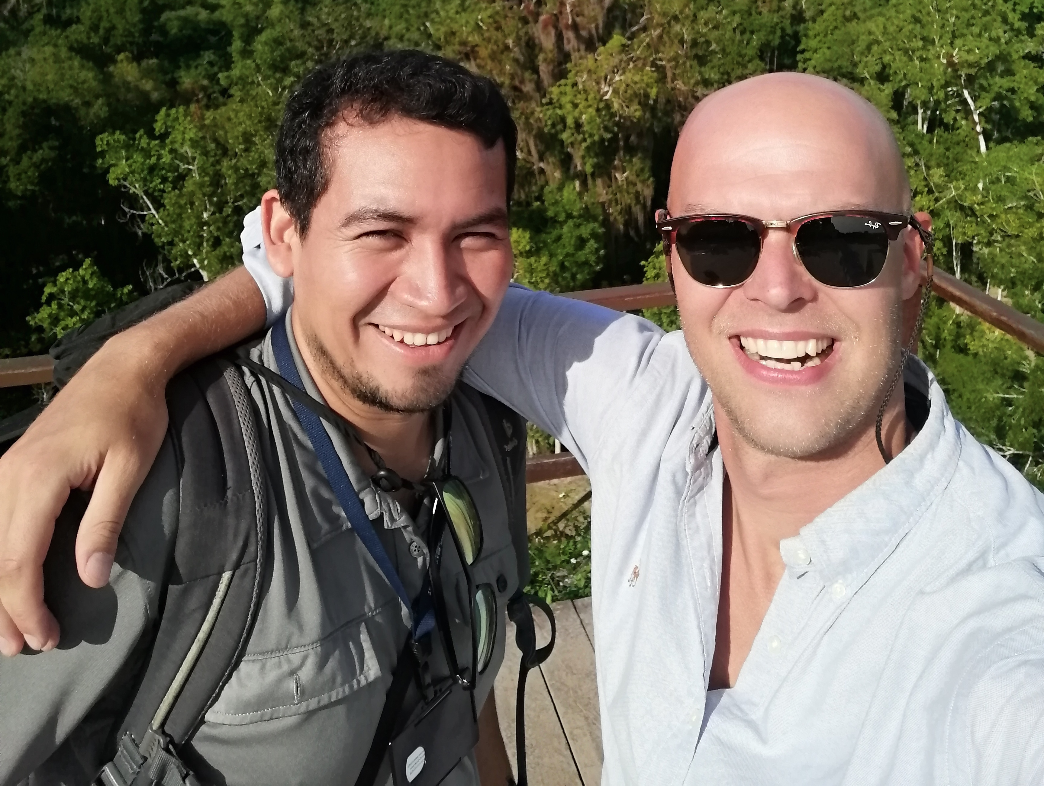Picture of Elmer, the owner of Tikal VIP Tours, with one of his guests