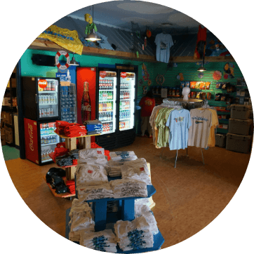 interior of gift shop with tshirts on display