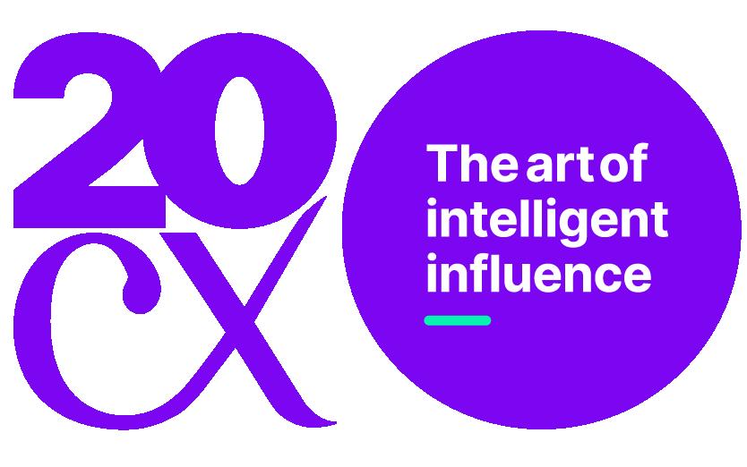 Twenty CX - the art of intelligent influence - logo on yellow circle