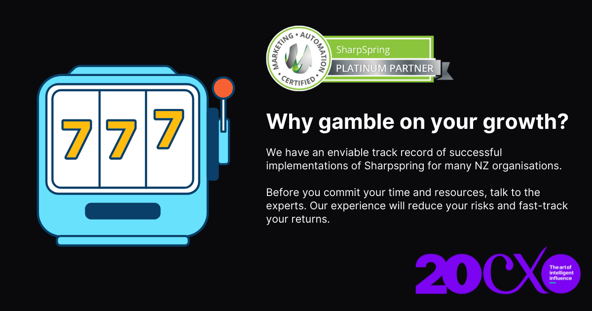 Image of fruit machine, with the question:  that asks you Why gamble on your growth? Twenty CX is a Sharpspring Platinum Agency Partner
