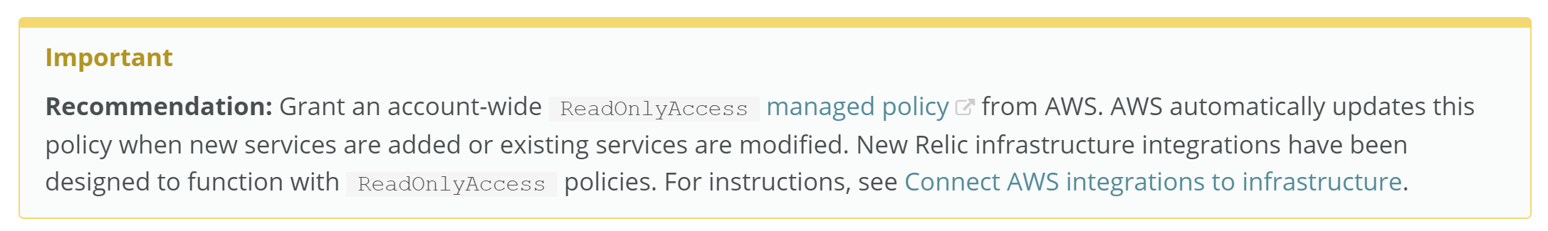 Recommended ReadOnlyAccess Policy