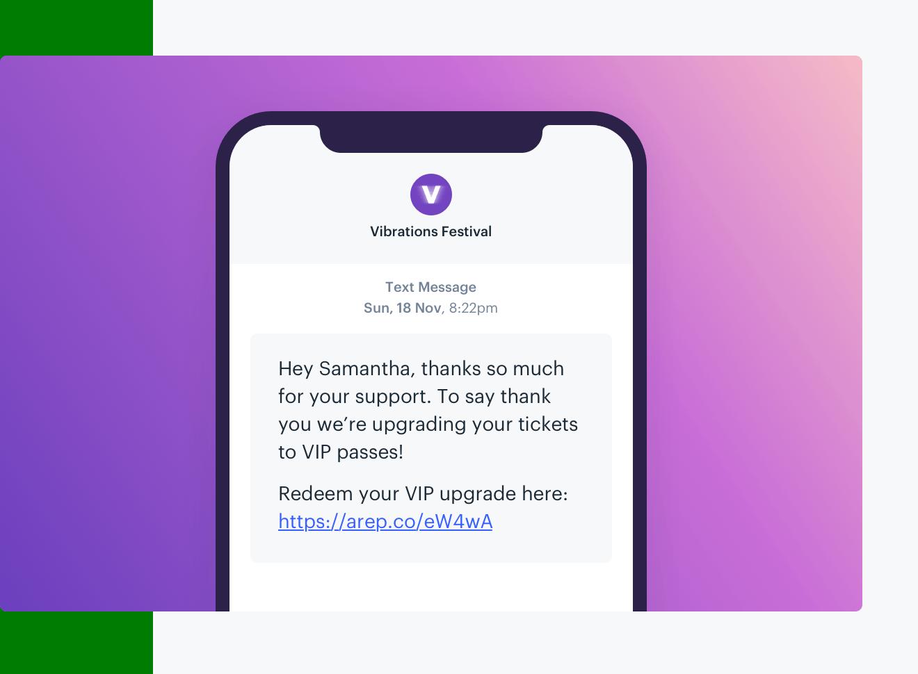 Text message example sent via the Audience Republic platform