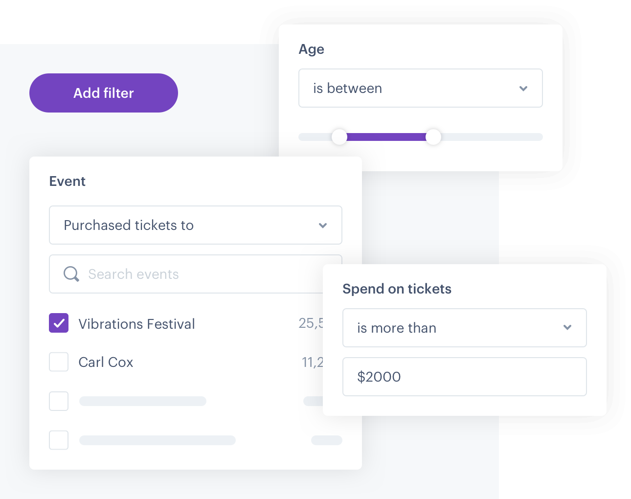 Screenshots of the filtering capabilities on the Audience Republic platform