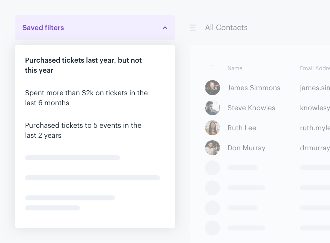 A screenshot of the saved filters view on the Audience Republic platform