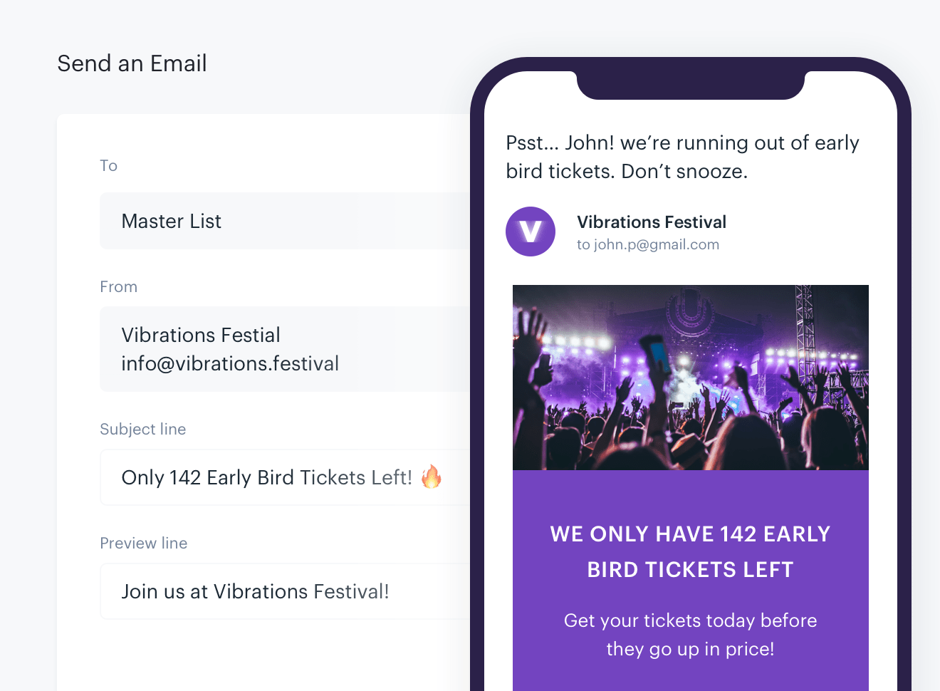 A screenshot of the email preview feature on the Audience Republic platform