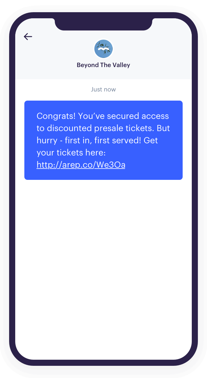 An example of a text message sent via the Audience Republic platform