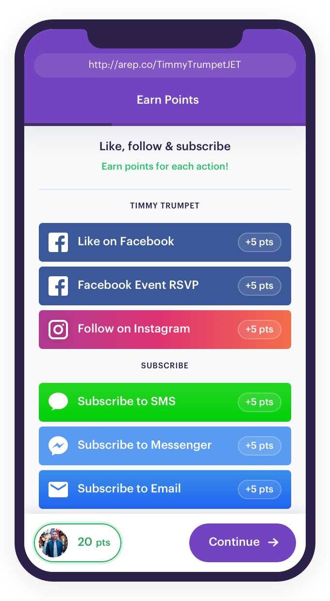 Screenshot of an example campaign on the Audience Republic platform