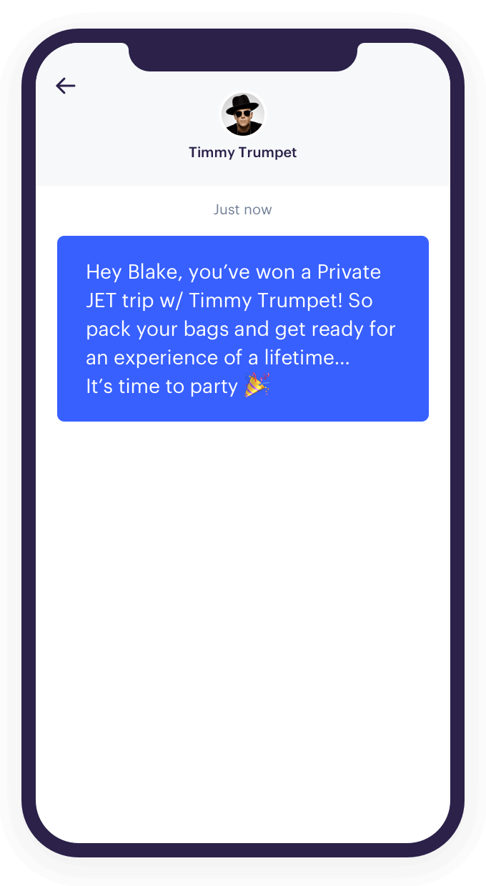 An example of an SMS sent via the Audience Republic platform