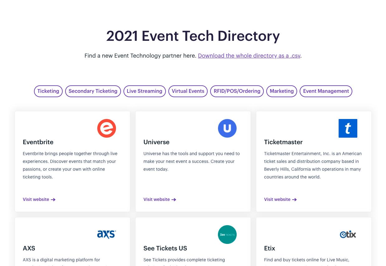 Screenshot of the new 2021 Event Tech Directory
