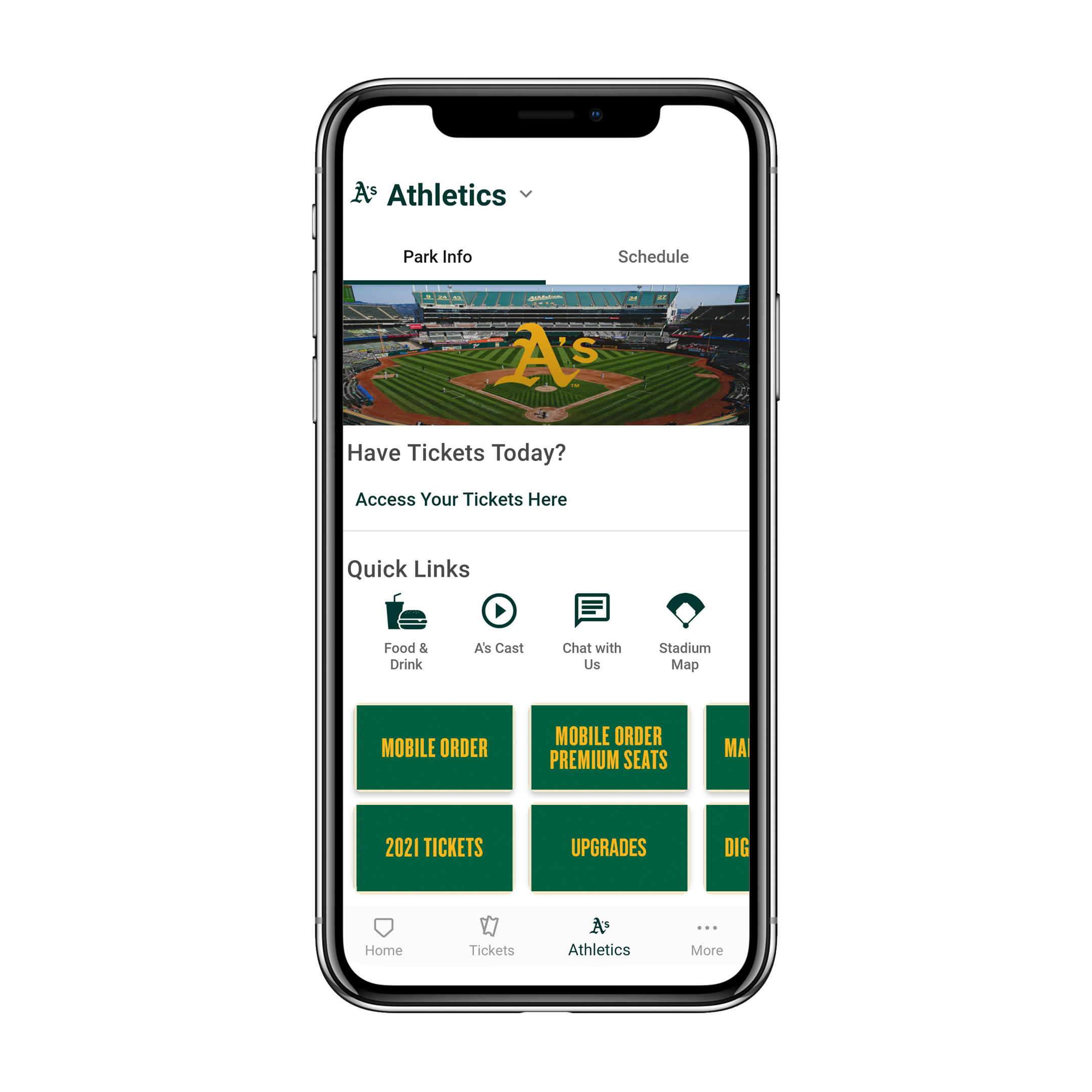 """Download the Ballpark app and select """"Upgrades"""""""