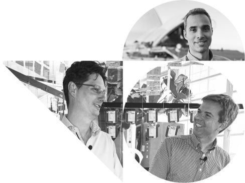 Photo of the Studioworks team members, Pete, Gids, and Robin