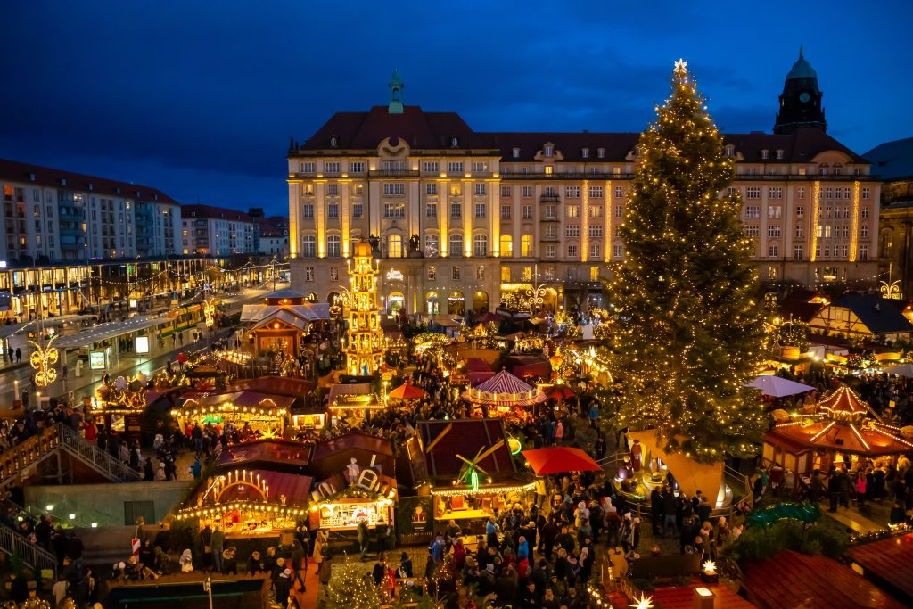 Picture of the Christmas Market Striezelmarkt in Dresden, Germany.