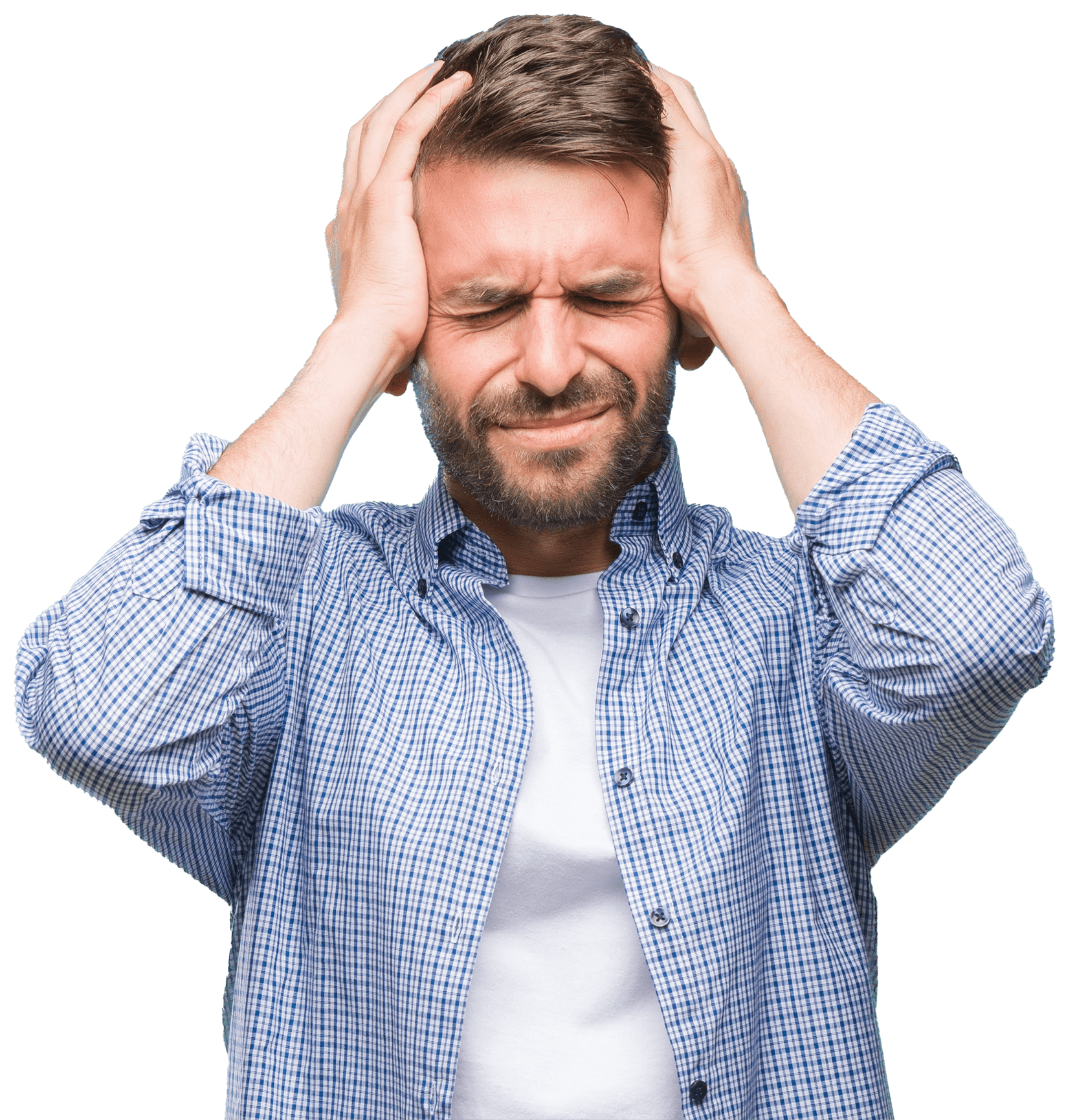 Man Frustrated Holding HIs Head