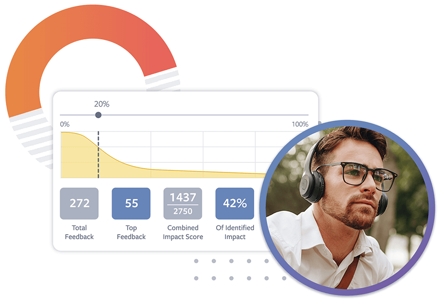 Photo of a man wearing wireless headphones and a delta test reporting UI