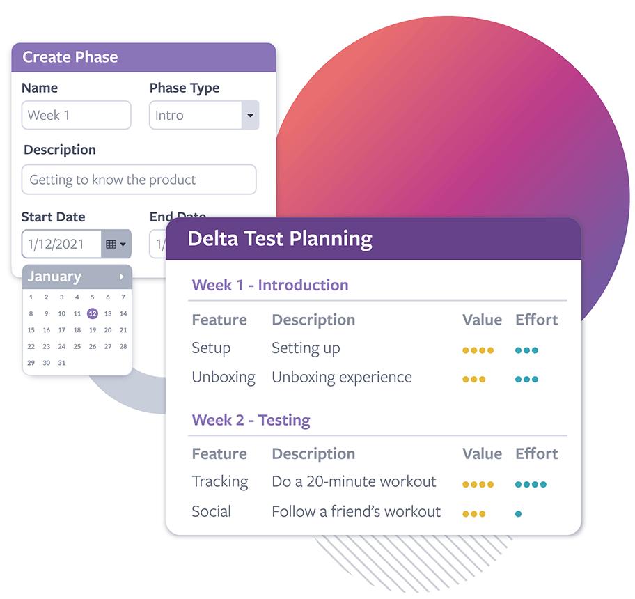 A screenshot showing a Delta Test planning interface