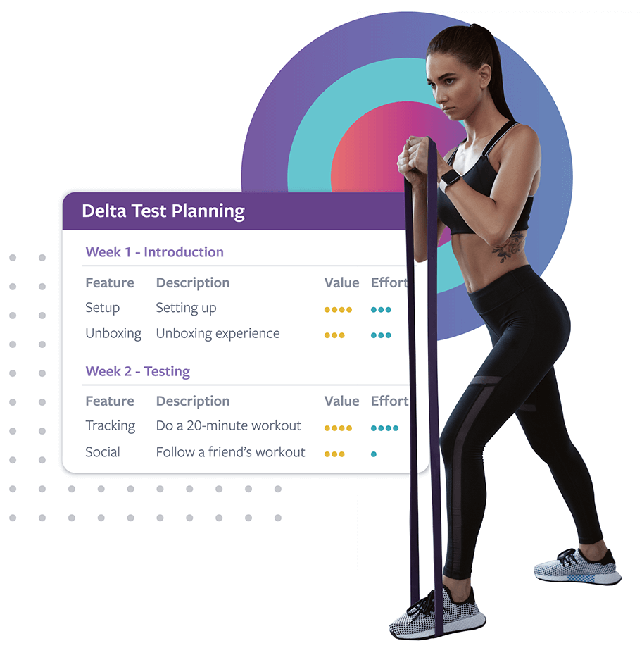 A photo of a woman exercise and screenshot of a test planning interface