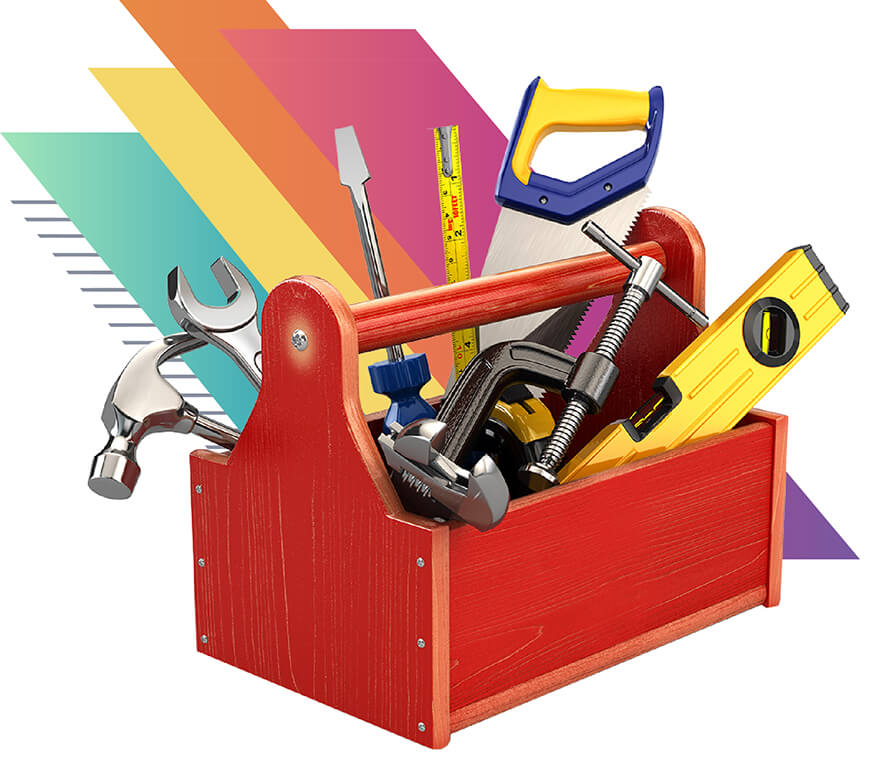 Photo of a red toolbox filled with tools