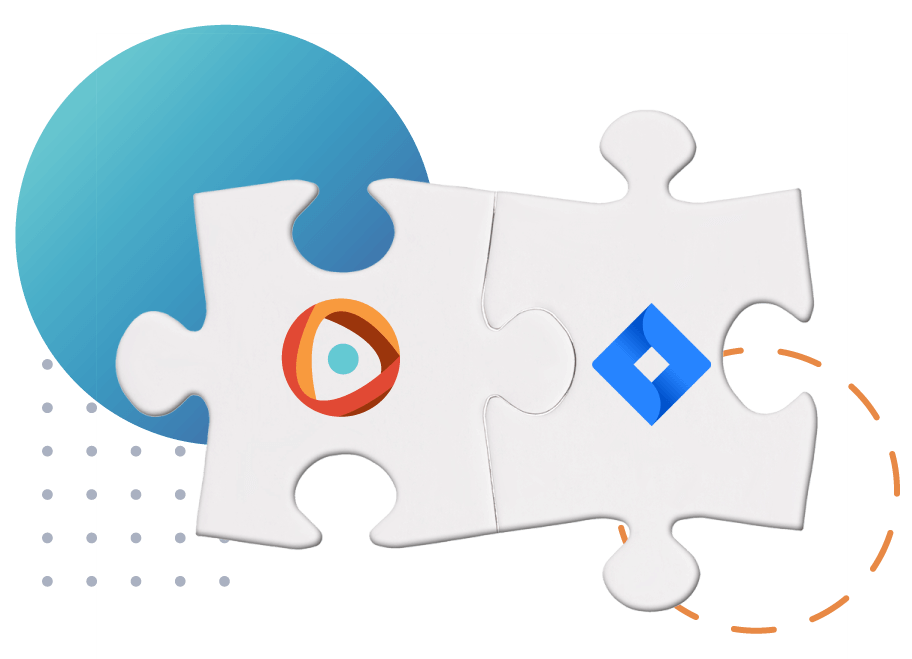 Two puzzle pieces with the Centercode and Jira logos