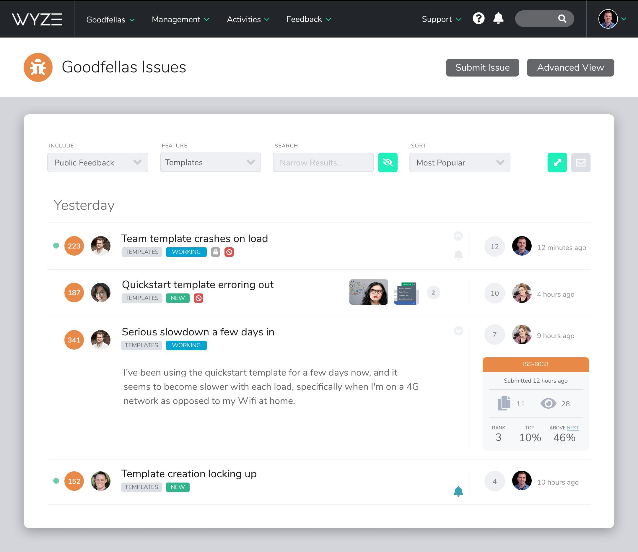 Screenshot of Centercode's Issue List interface