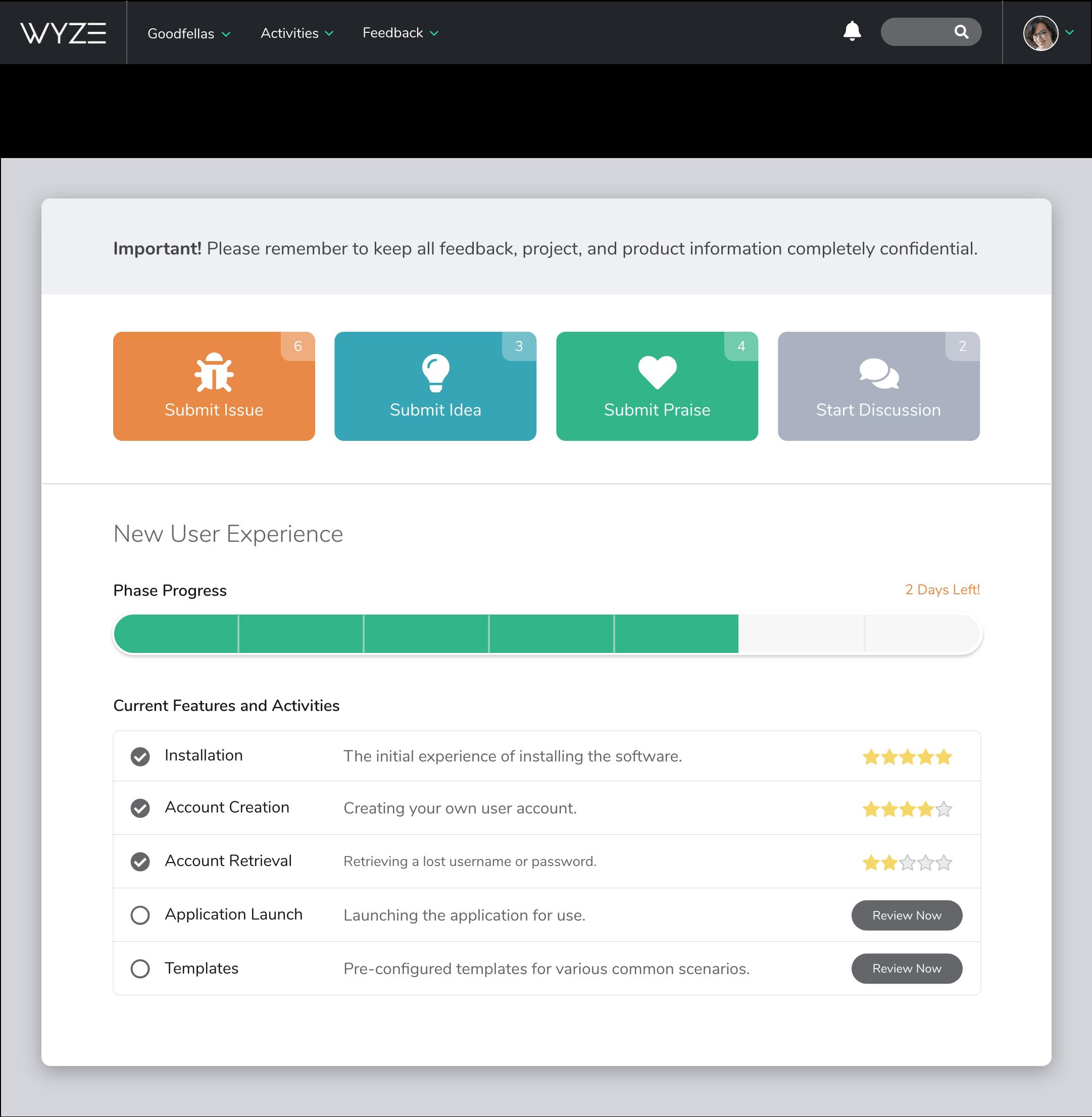 A screenshot of Centercode's tester interface