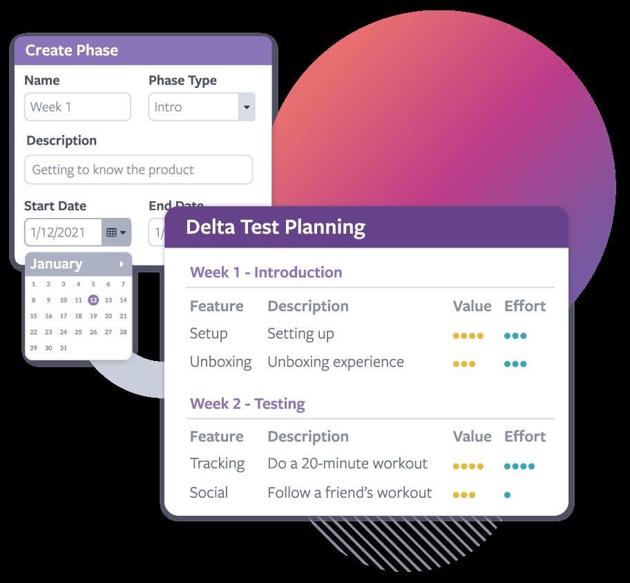 Screenshots of a test plan management interface