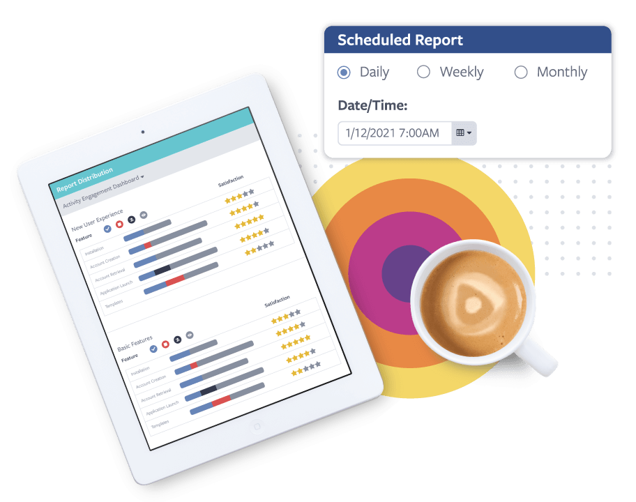 A cup of coffee and a Centercode report displayed on an iPad