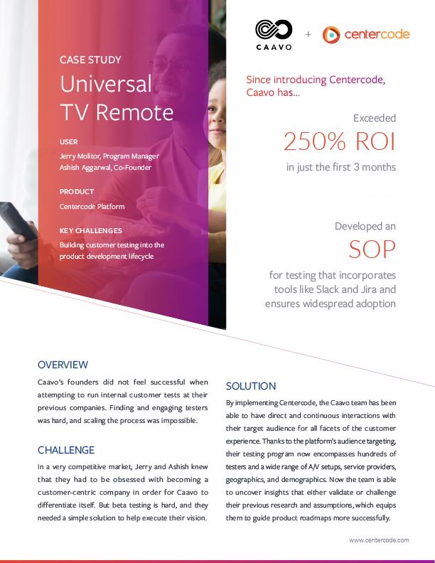 Caavo Exceeds 250% Beta Test ROI with Centercode