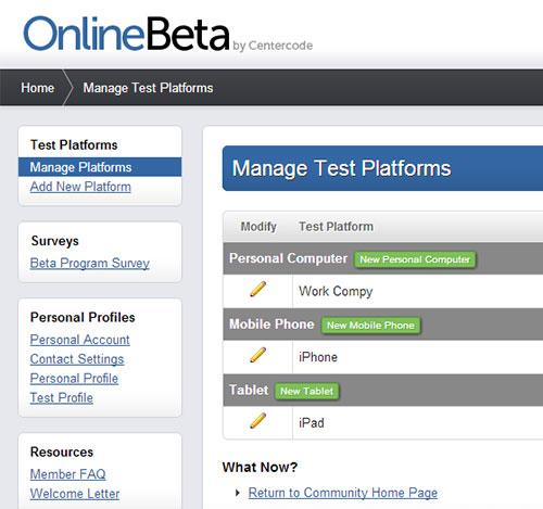 Online Beta Management Test Platform