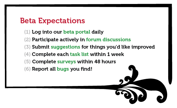 Beta Tester Expectations