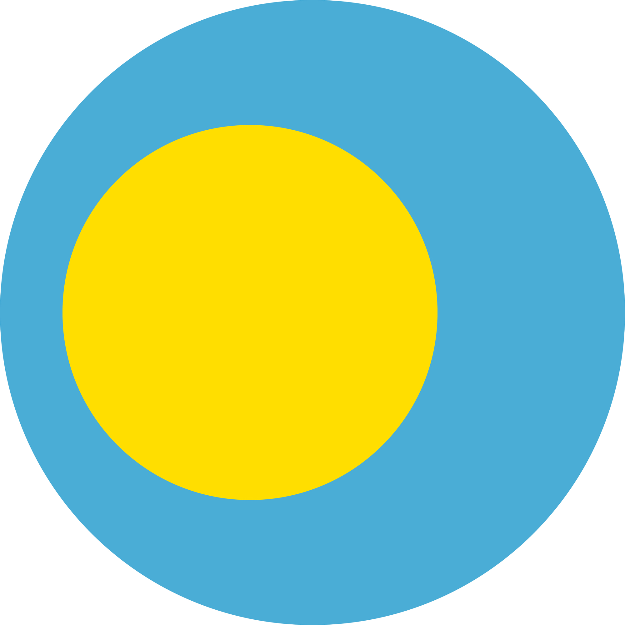 Flag of the Republic of Palau in a circular shape