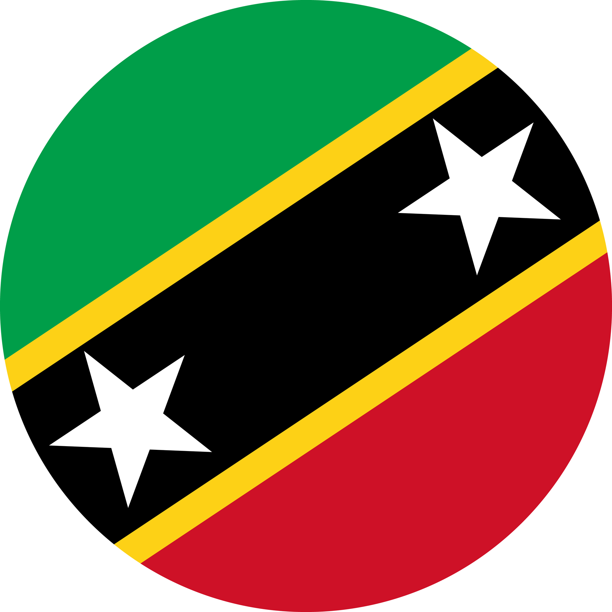 Flag of Saint Kitts and Nevis in a circular shape