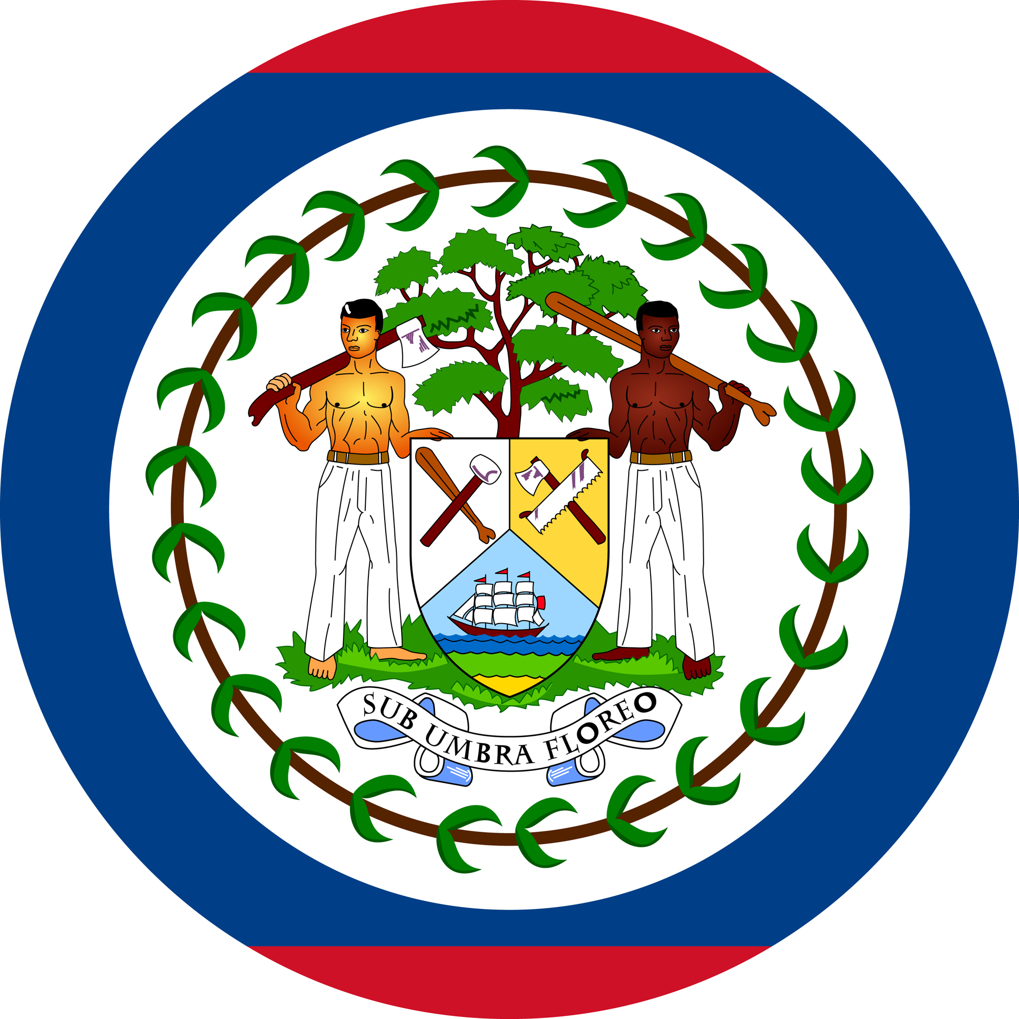 Flag of Belize in a circular shape