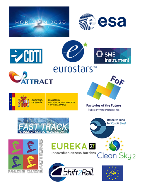 logos of: Horizon 2020, ESA, CDTI, Eurostars, SME instrument, Attact, Ministerio español de Ciencia, Innovación y Universidades, Factories of the Future, Fast Track, Research Fund for coal and steel, Marie urie actions, Eureka, Clean Sky 2, Shift 2 Rail, Life