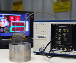 PXI Pulser/Receiver card performing thickness measurement