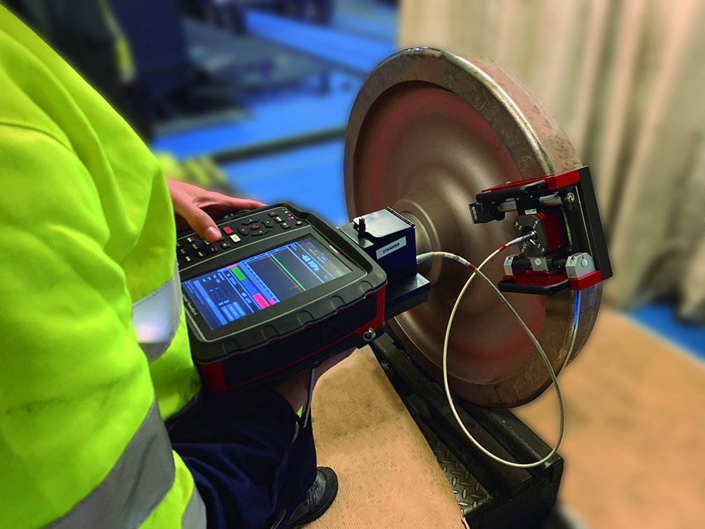 Performing residual stress measurement on railway wheels with the portable instrument called Innerspec POWERBOX H