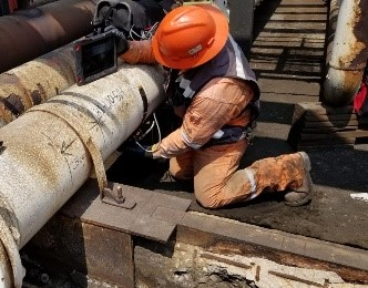 Performing circumferential scanning on pipe