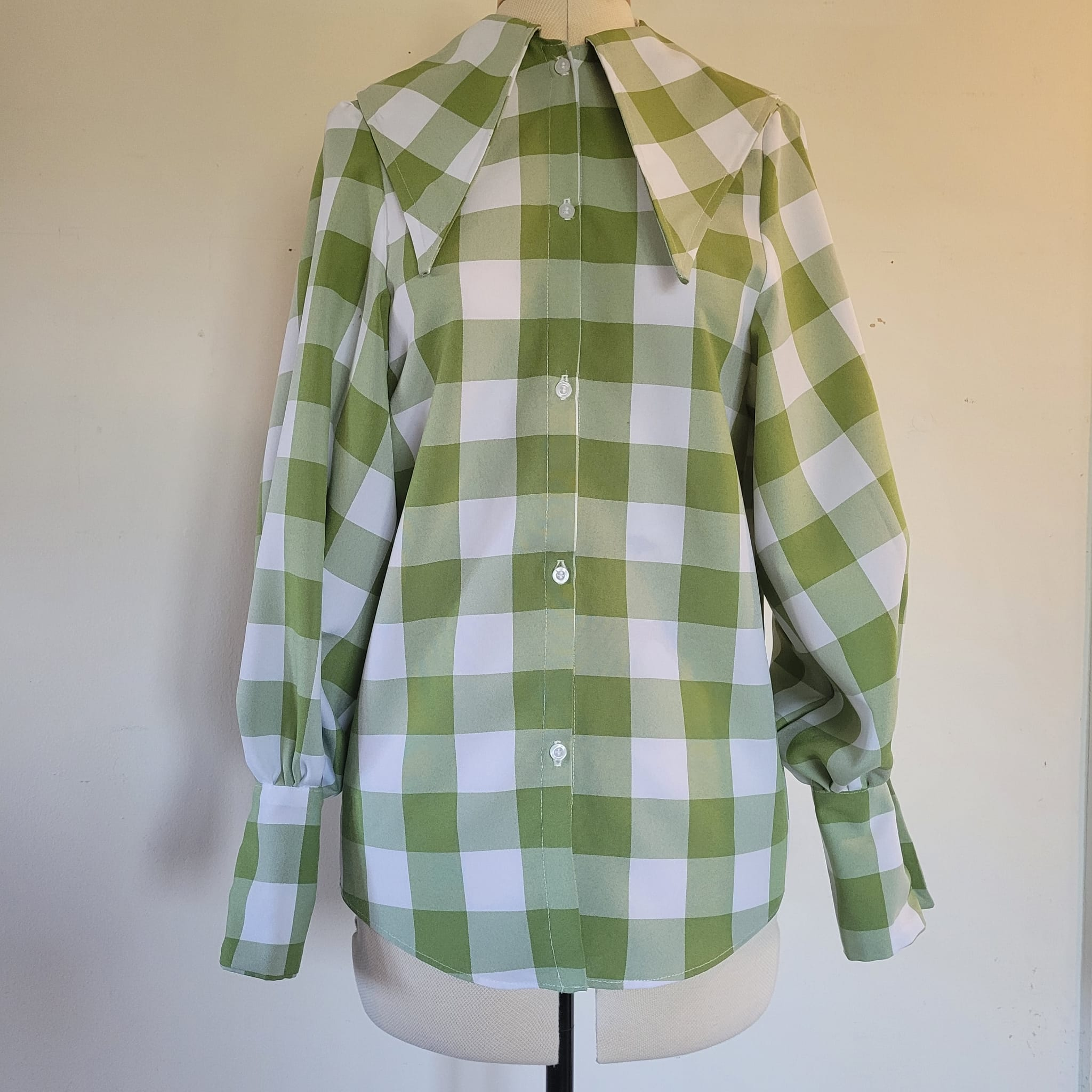 Dagger collar oversized shirt- green check