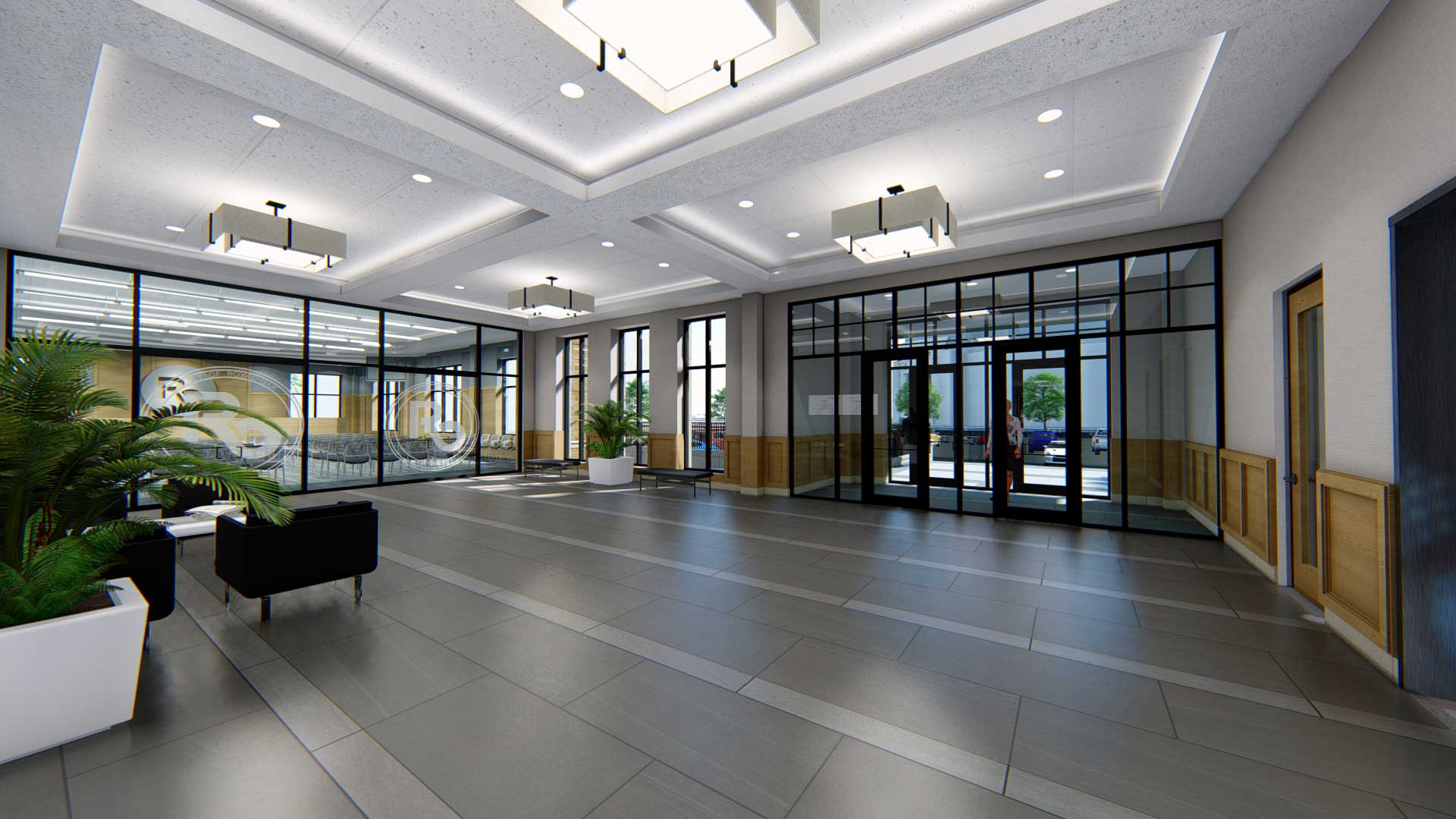 Royal Oak City Hall lobby interior rendering