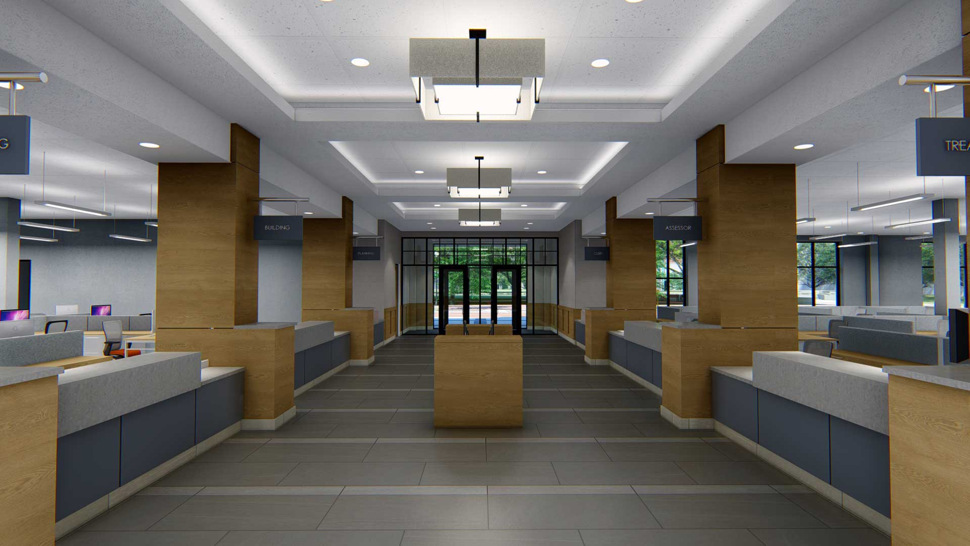 Royal Oak City Hall clerk desks rendering