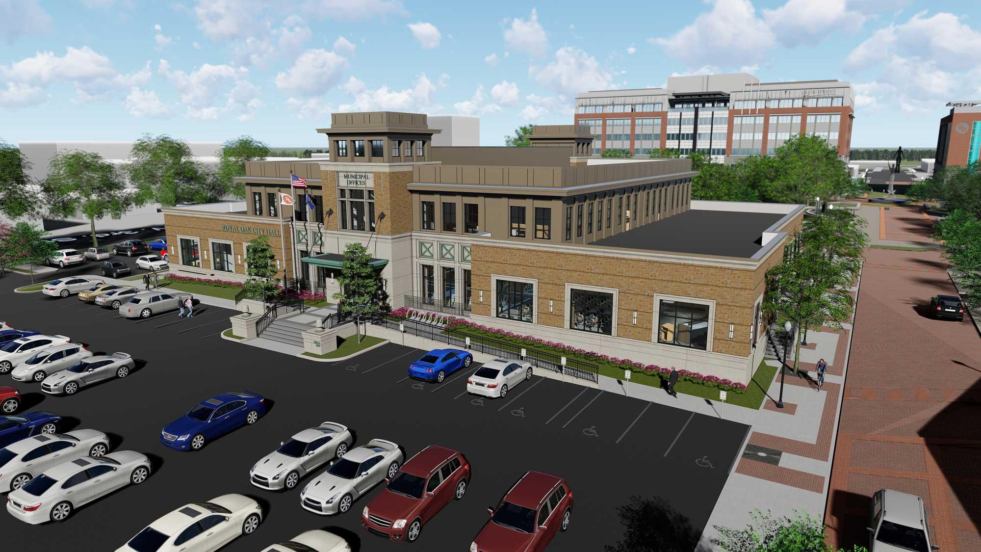 Royal Oak City Hall site exterior rendering
