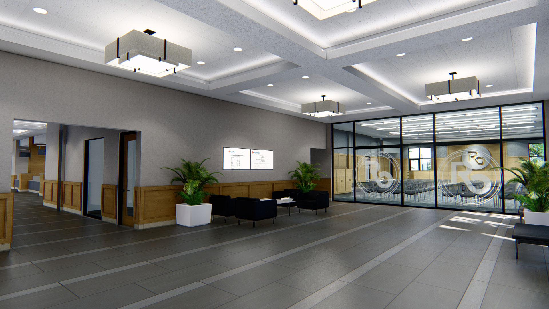 Royal Oak City Hall lobby and seating area rendering