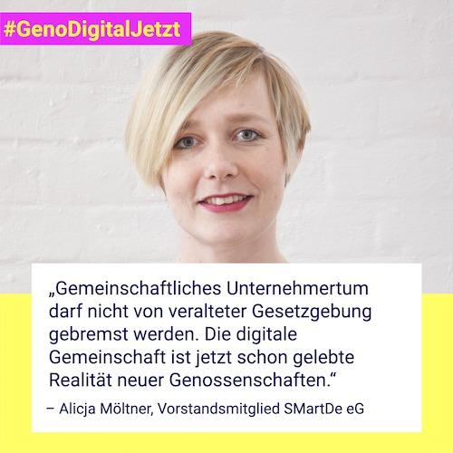 """""""Gemeinschaftliches Unternehmertum darf nicht von veralteter Gesetzgebung gebremst werden. Die digitale Gemeinschaft ist jetzt schon gelebte Realität neuer Genossenschaften."""" – Alicja Möltner, Vorstandsmitglied SMartDe eG"""