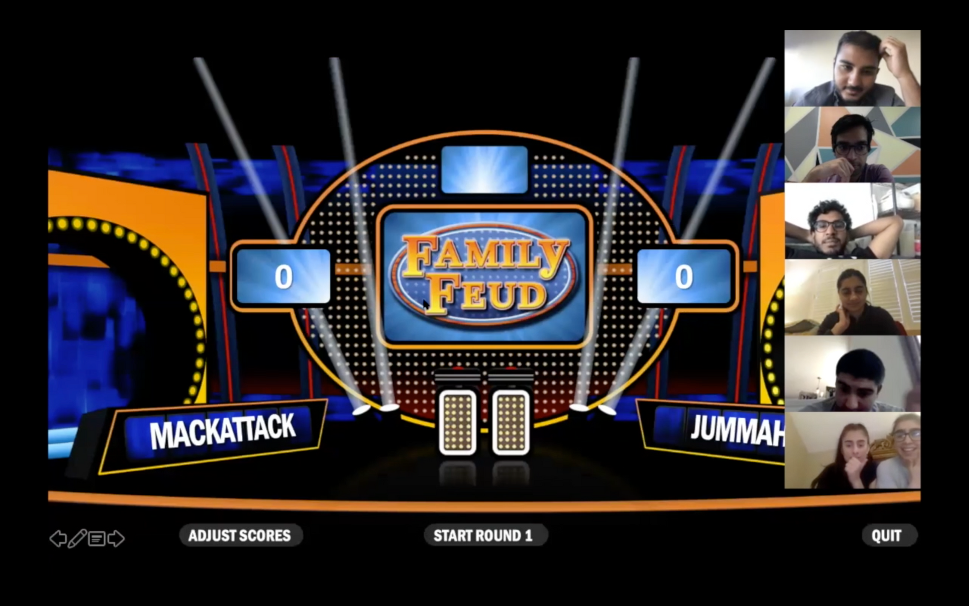 Online Office Olympics participants playing Family Feud