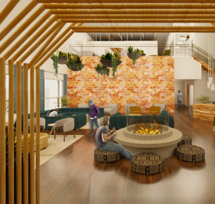 Rendering of new Kuya space, with bamboo entrance arch, brick-like wall of pink salt, hanging plants, fire pit and ample seating.