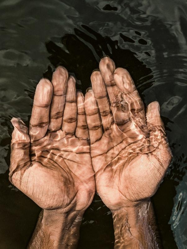 Hands scooping water.