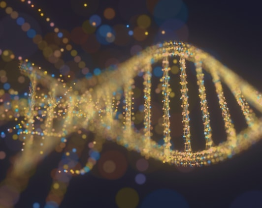 Zoomed-in DNA double helix illustration.