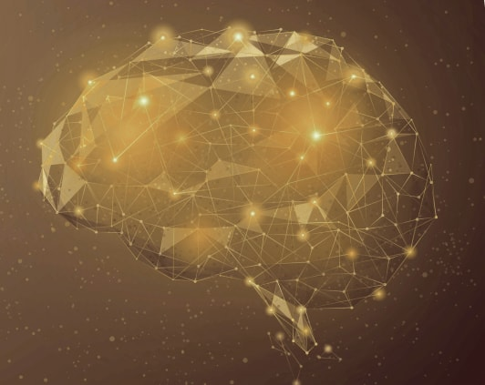 Geometric brain illustration.